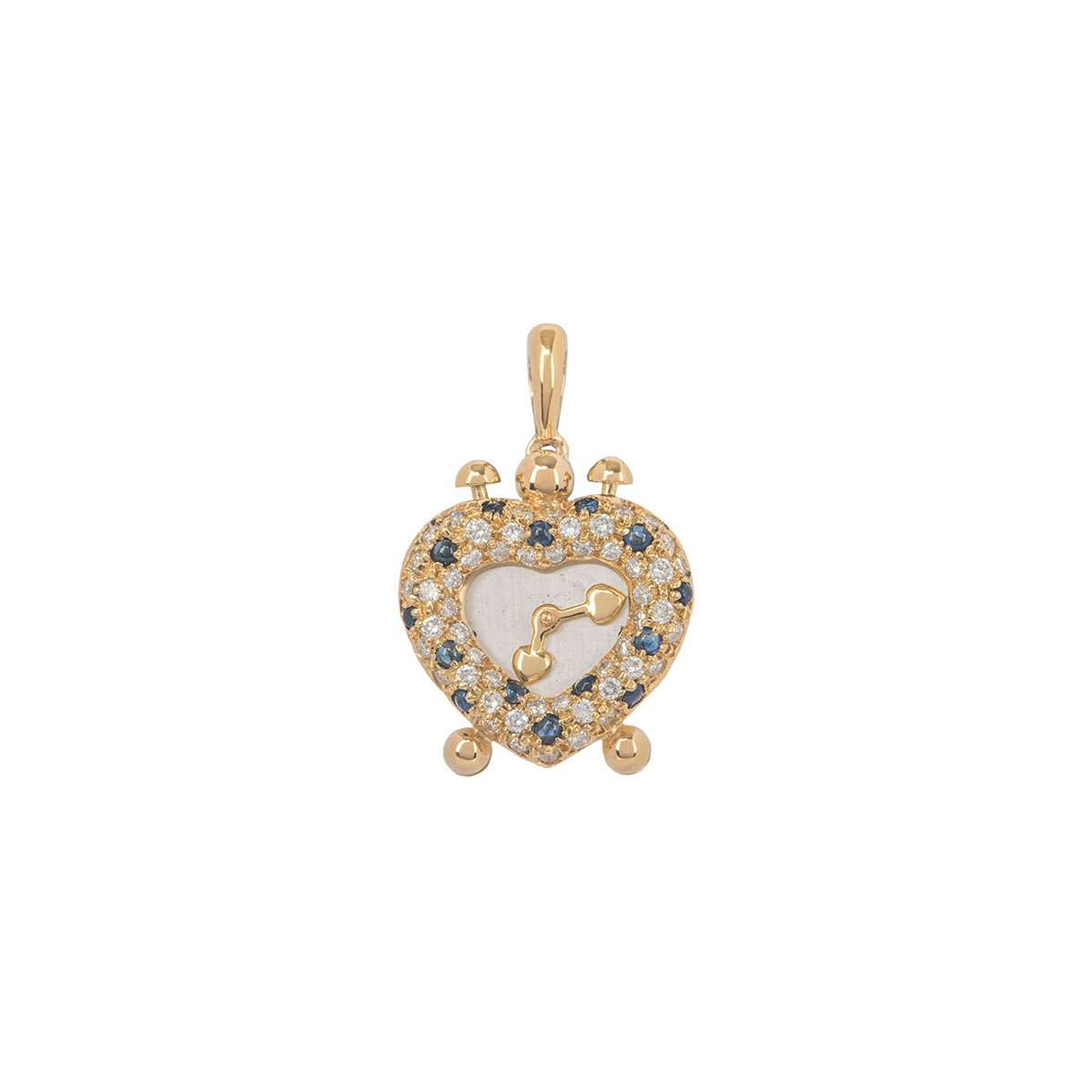 Yellow Gold Diamond and Sapphire Heart Clock Pendant